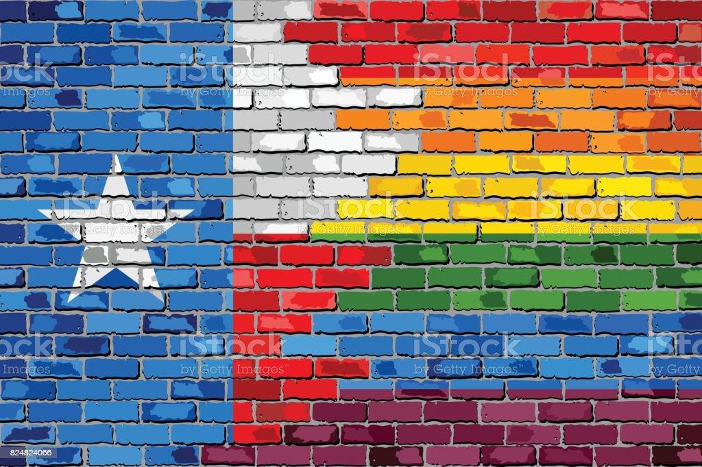 Brick Wall Texas and Gay flags vector art illustration