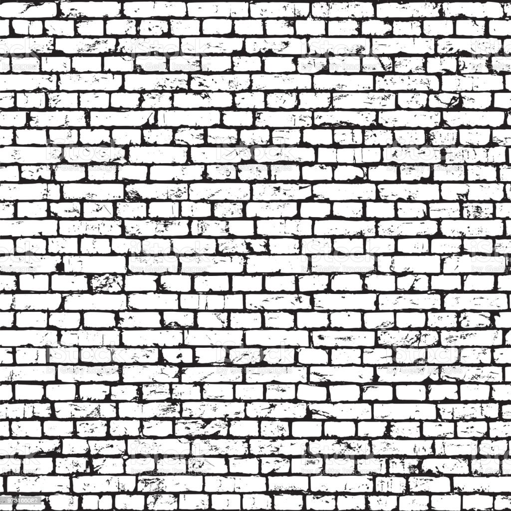 Brick wall texture, grunge background vector art illustration