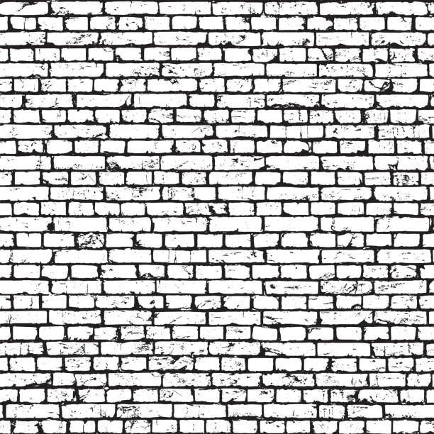 Brick wall texture, grunge background vector art illustration
