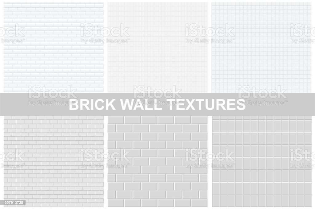 Brick wall textures - seamless. vector art illustration