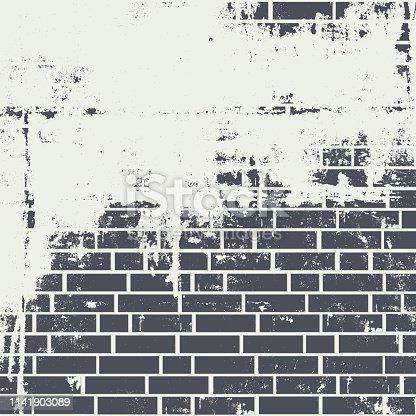 Brick wall. Background with grunge texture on dark grey brickwall.