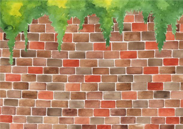 ilustrações de stock, clip art, desenhos animados e ícones de brick wall watercolor hand painting for decoration on background. - ivy building
