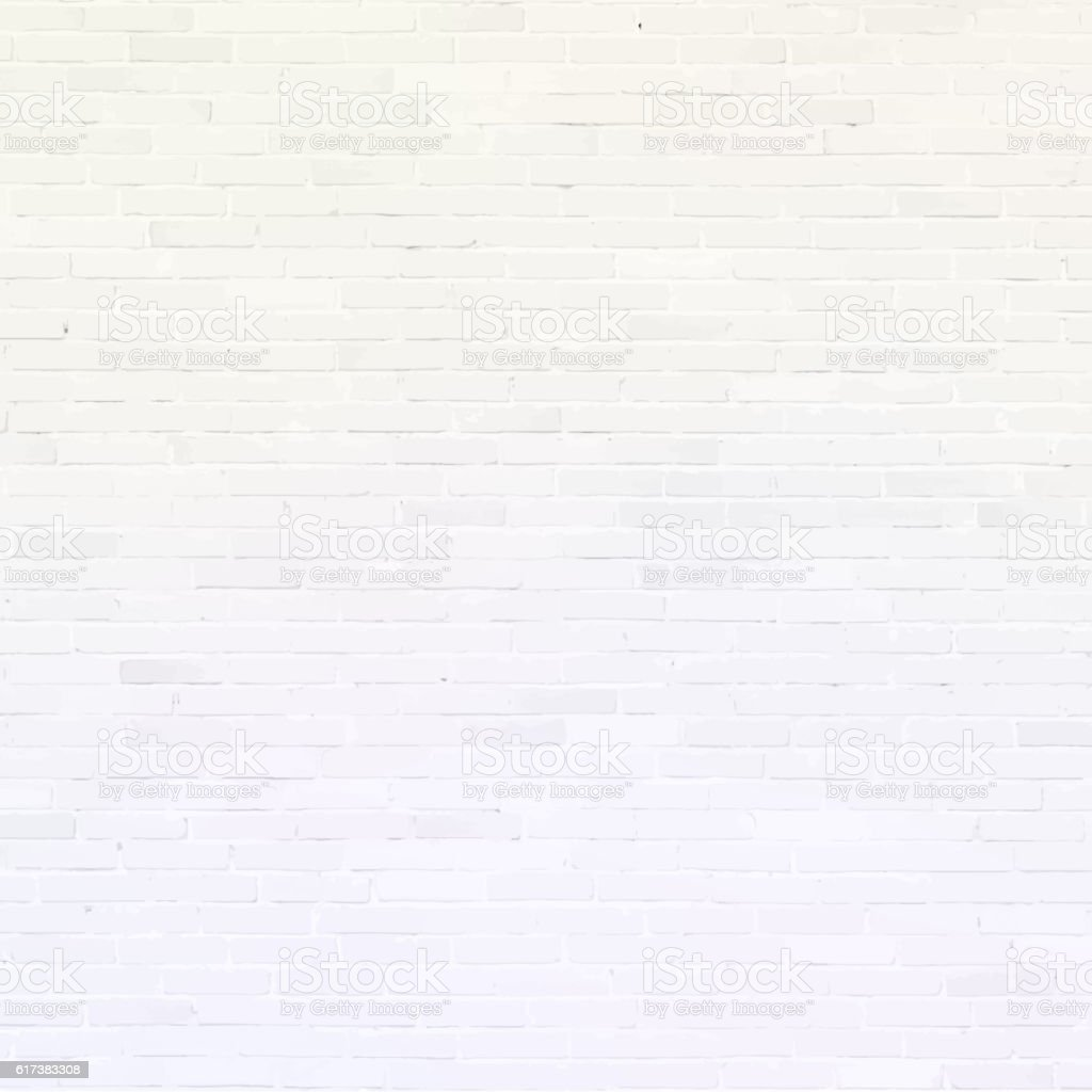 Brick wall, white relief texture with shadow vector art illustration