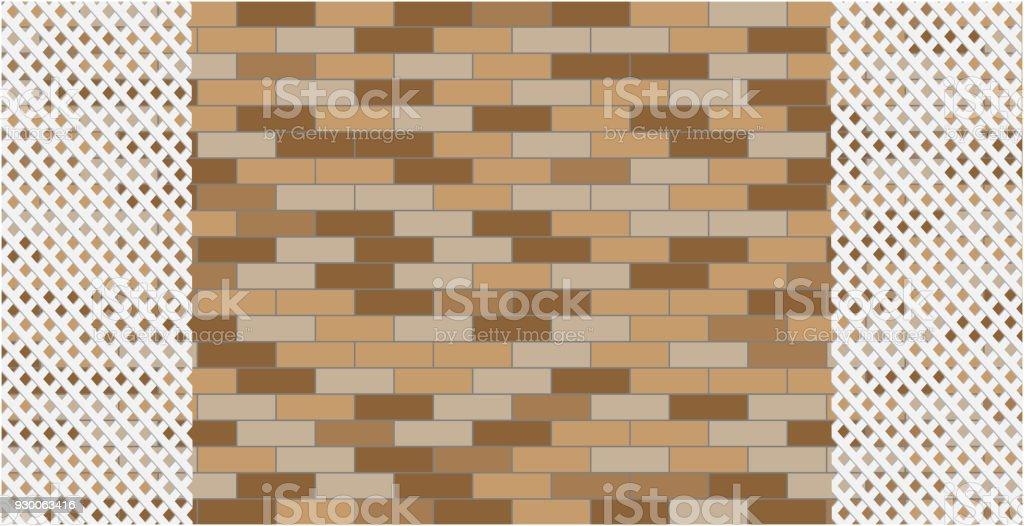 Brick wall with a decorative white grille graphic design - ilustração de arte vetorial
