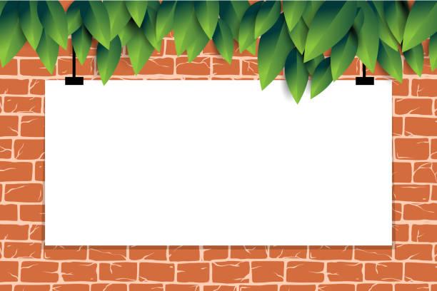 ilustrações de stock, clip art, desenhos animados e ícones de brick wall with empty poster, template for promotion, old rectangle bricks for poster house facade decoration.  rough vector exterior, interior of room, tool shop, diy store, garden center or graffiti - ivy building
