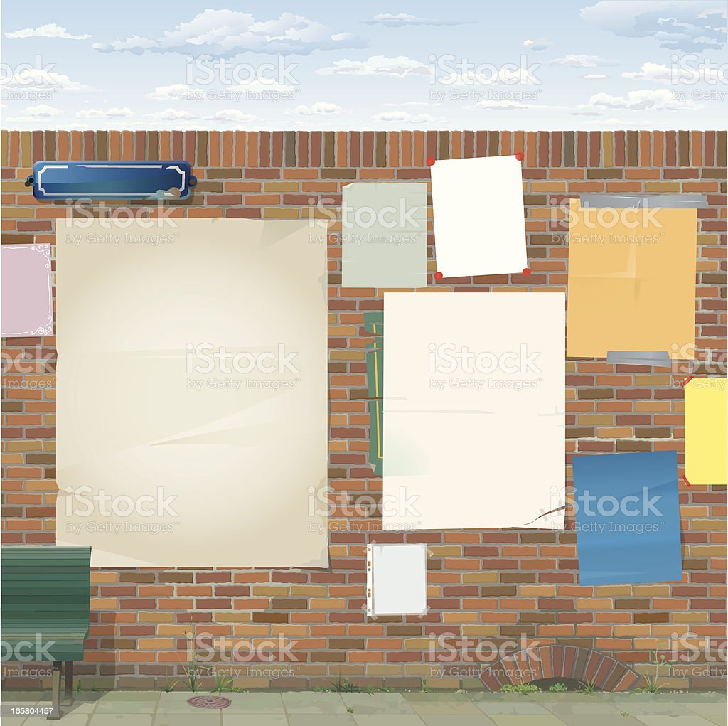 Brick Wall with Empty Posters royalty-free stock vector art