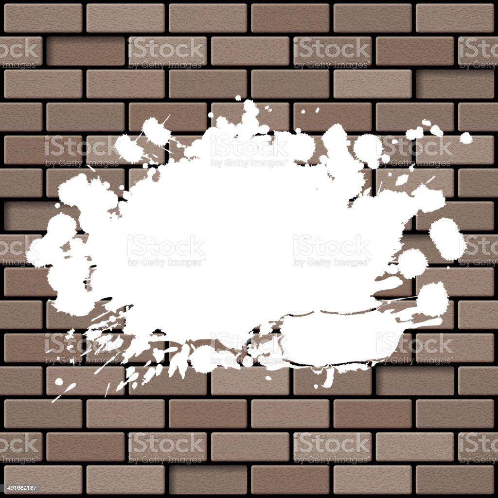 Brick wall with splashes vector art illustration