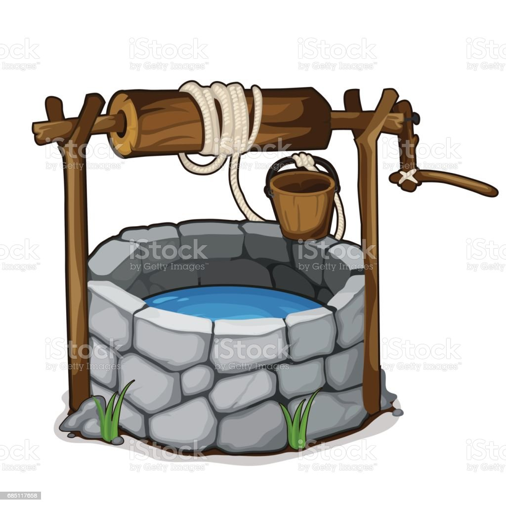Brick well with blue water and wooden bucket vector art illustration