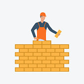 Bricklayer flat icon. Builder, worker professional. Labor concept. Can be used for topics like construction site, building work, brickwork
