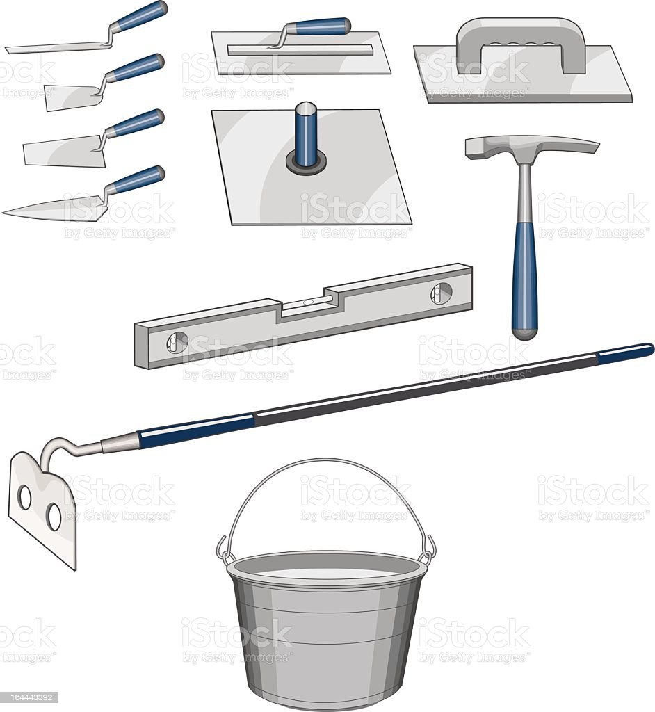 Bricklayer Masonry Tools royalty-free stock vector art