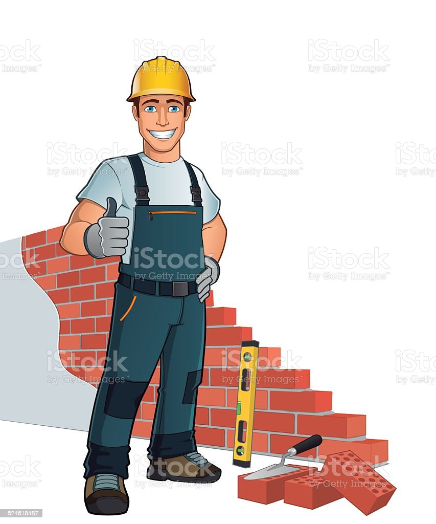 Bricklayer vector art illustration
