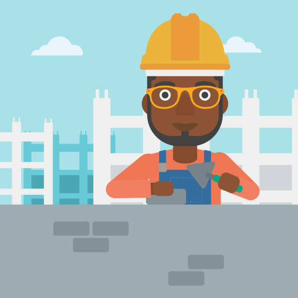 Bricklayer with spatula and brick vector art illustration