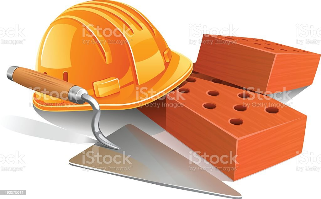 Bricks, hard hat, trowel vector art illustration