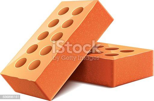 istock Bricks isolated on white vector 536895151