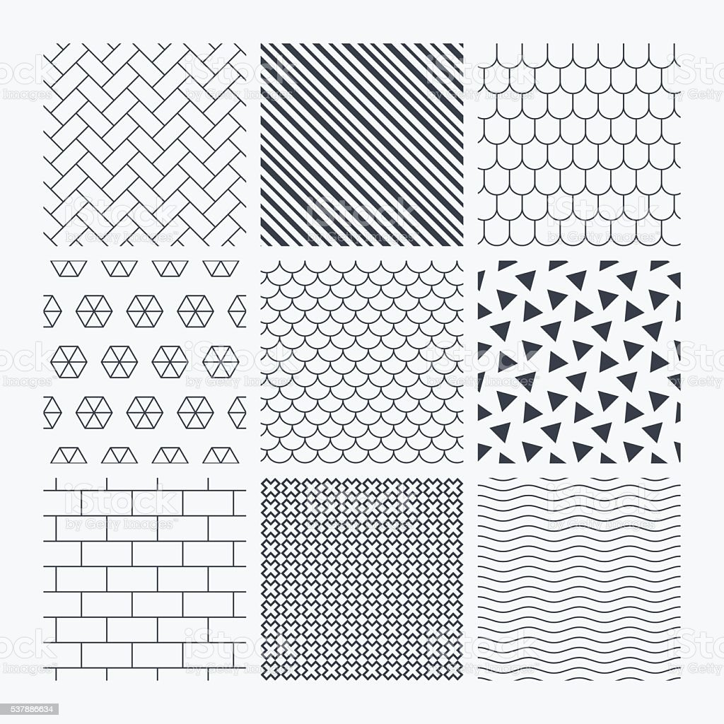 Bricks, tile roof and paving stone textures. vector art illustration