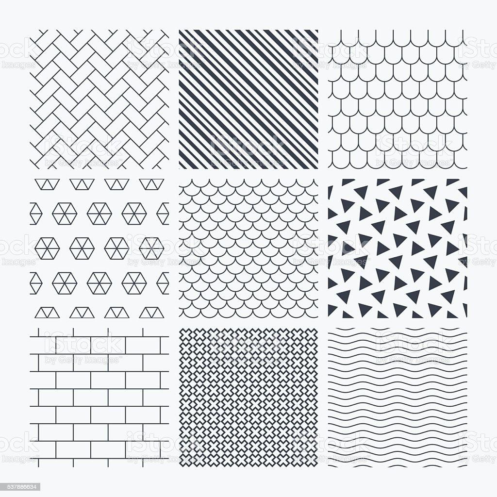 Briques, toit de tuiles et pavé de textures. - Illustration vectorielle