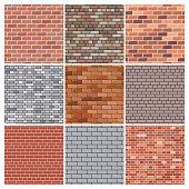 Brick wall. Set of nine red and grey brick wall backgrounds. Vector illustration