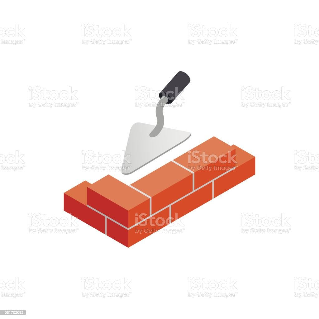 Brickwork and building trowel icon vector art illustration