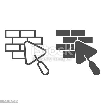 istock Brickwork and trowel line and solid icon, house repair concept, Bricklaying sign on white background, Brick wall trowel icon in outline style for mobile concept and web design. Vector graphics. 1264196310