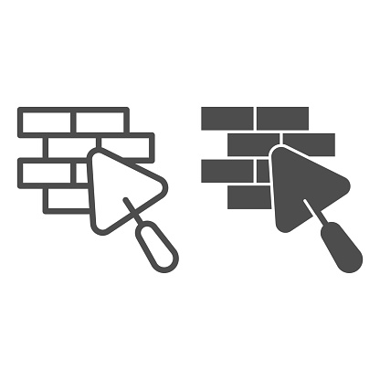 Brickwork and trowel line and solid icon, house repair concept, Bricklaying sign on white background, Brick wall trowel icon in outline style for mobile concept and web design. Vector graphics