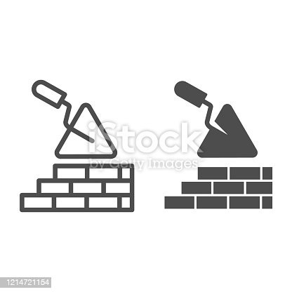 Brickwork and trowel line and solid icon. Spatula tool and building brick wall symbol, outline style pictogram on white background. Construction sign for mobile concept or web design. Vector graphics