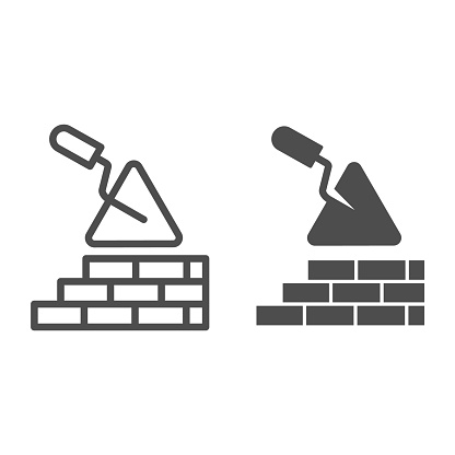 Brickwork and trowel line and solid icon. Spatula tool and building brick wall symbol, outline style pictogram on white background. Construction sign for mobile concept or web design. Vector graphics.