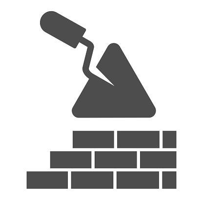 Brickwork and trowel solid icon. Spatula tool and building brick wall symbol, glyph style pictogram on white background. Construction sign for mobile concept or web design. Vector graphics.