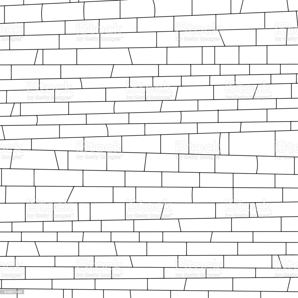 brickwork. black and white texture vector art illustration