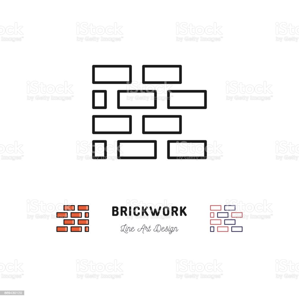 Brickwork icon, Building sign. Brick laying thin line art icons vector art illustration