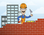 Construction site mason worker in helmet building red brick wall with trowel vector illustration