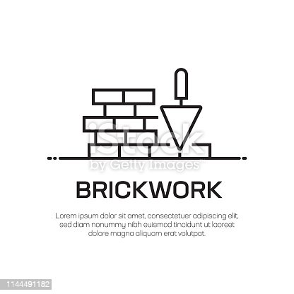 Brickwork Vector Line Icon - Simple Thin Line Icon, Premium Quality Design Element