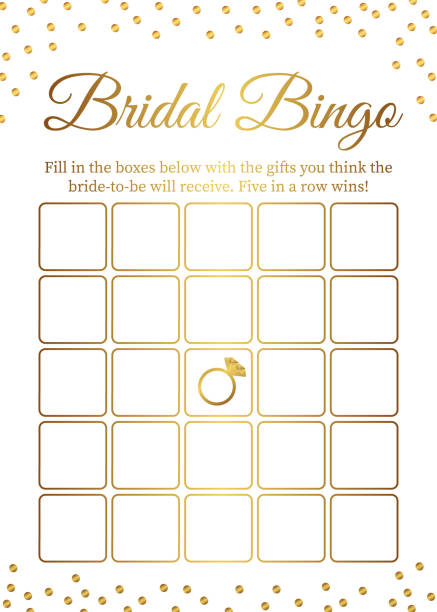 Bridal Bingo card template. Bridal Shower Bingo games. Funny activity for guests. Bachelorette Party activities.  Wedding stationery. Gold polka dots. Bridal Bingo card template. Bridal Shower Bingo games. Funny activity for guests. Bachelorette Party activities.  Wedding stationery. Gold polka dots. bingo stock illustrations