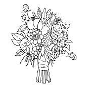 Hand drawn bridal bouquet. Vector sketch  illustration.