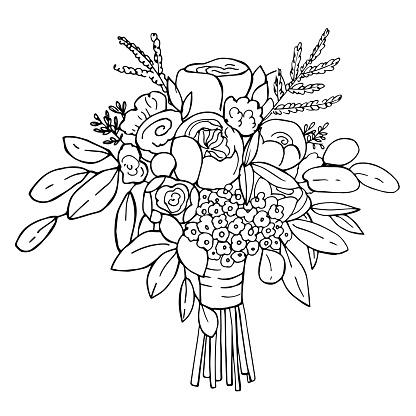 Bridal bouquet. Vector sketch  illustration.