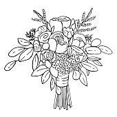 istock Bridal bouquet. Vector sketch  illustration. 1210343148
