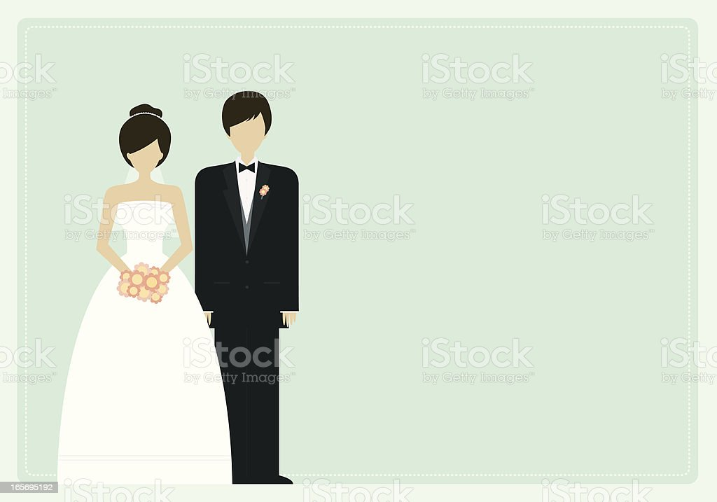 Bridal Couple Panel vector art illustration