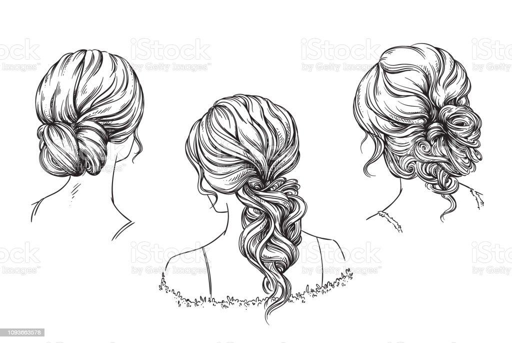 ブライダル手描きヘアスタイルベクトル イラスト おだんごヘア