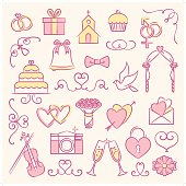 A set of wedding icon and graphic element set. Each object is grouped individually.