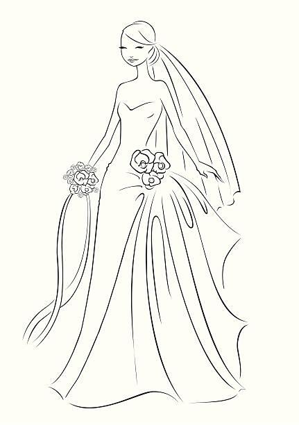 bridal-linien - rosenhochzeitskleider stock-grafiken, -clipart, -cartoons und -symbole