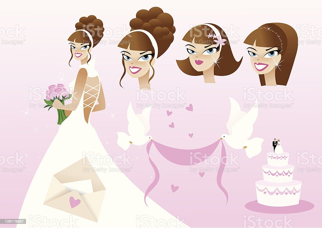 Bridal Pink Element art pack royalty-free stock vector art