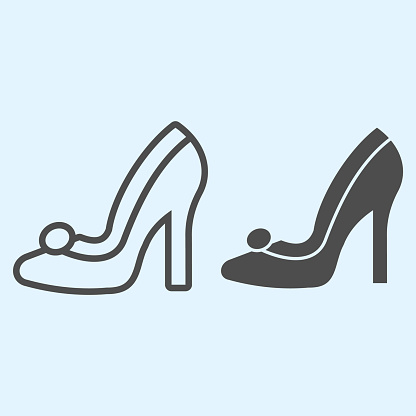Bridal shoe line and solid icon. Elegant high heel female shoes. Wedding asset vector design concept, outline style pictogram on white background, use for web and app. Eps 10.