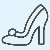 Bridal shoe line icon. Elegant high heel female shoes. Wedding asset vector design concept, outline style pictogram on white background, use for web and app. Eps 10