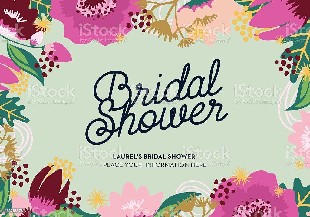 Carte de douche de mariage floral frame avec - Illustration vectorielle