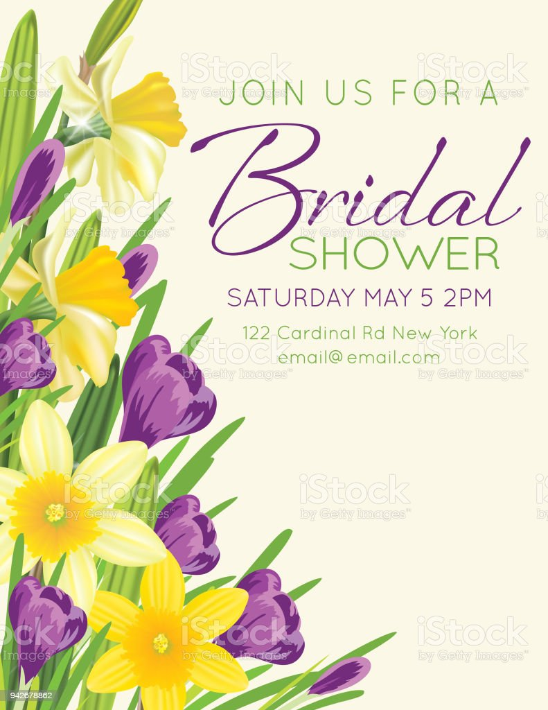 Bridal Shower Card With Spring Flowers Stock Vector Art More