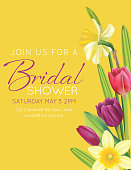 Bridal Shower Invitation Template Card With Spring Flowers