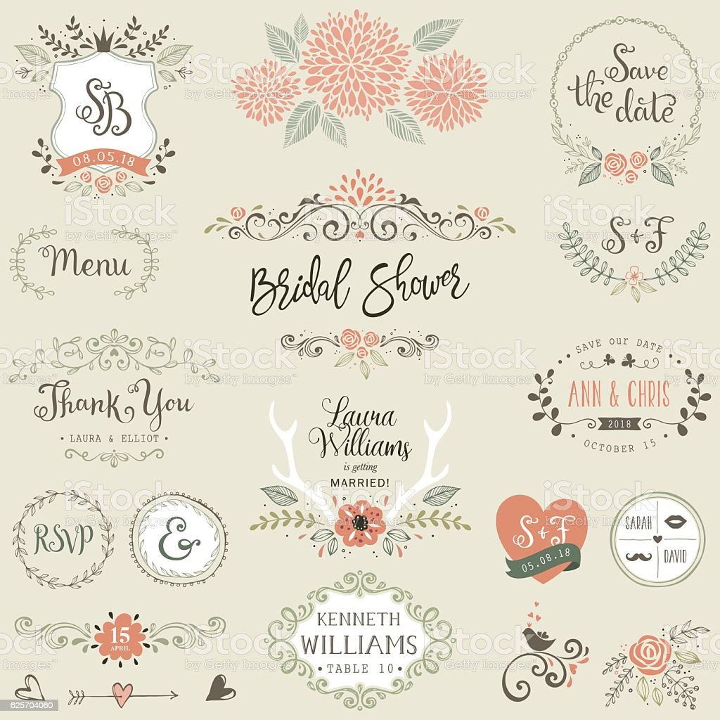 Bridal Shower Design Elements - ilustración de arte vectorial