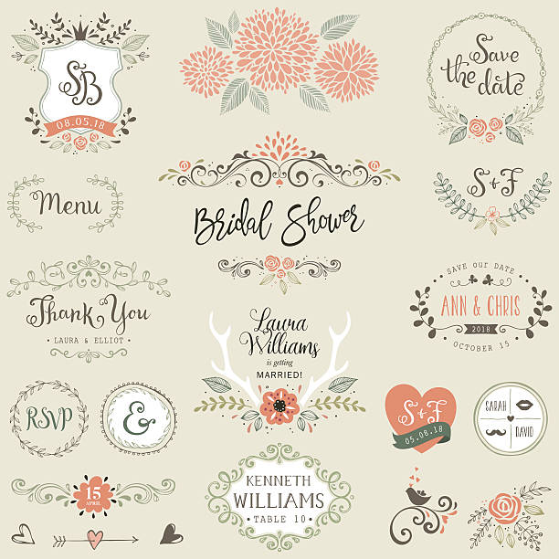 ilustraciones, imágenes clip art, dibujos animados e iconos de stock de bridal shower design elements - boda