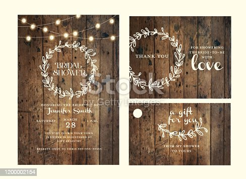 Vector illustration of a Bridal shower design template set with hand drawn wreath and wooden background with string lights. Includes, invitation design template, thank you card and gift tag label. Easy to edit.