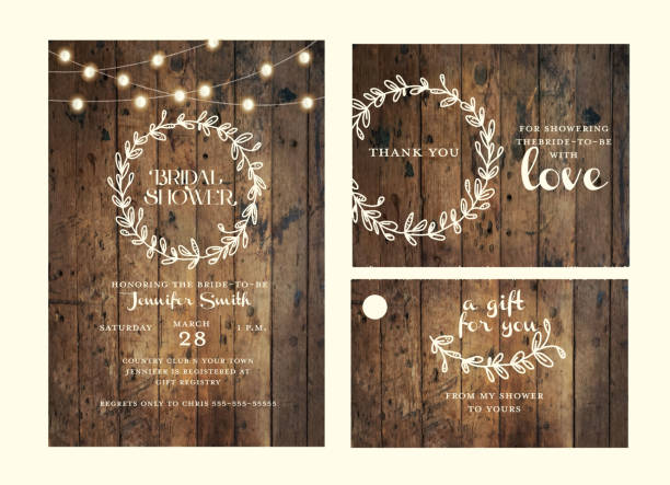 Bridal shower design template set with hand drawn wreath and wooden background with string lights vector art illustration