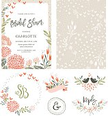 Rustic hand drawn Bridal Shower invitation with seamless background and floral design elements. Vector illustration.
